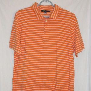 J. Crew Orange White striped Polo shirt 100% pima